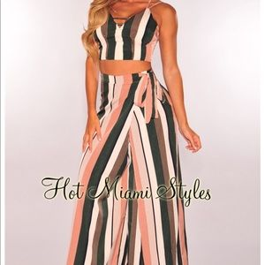 Hot Miami Styles Pants - Olive Mauve Striped Faux Wrap Palazzo Set